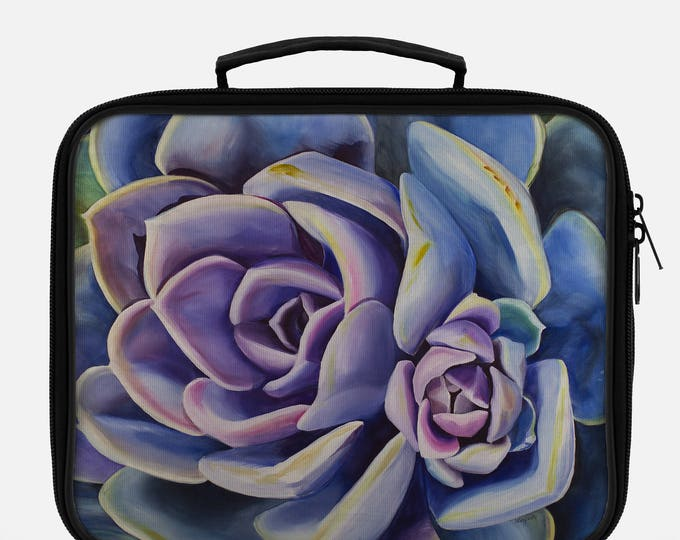 LUNCH BOX- SUCCULENT, Watercolor Painting on Lunch Box