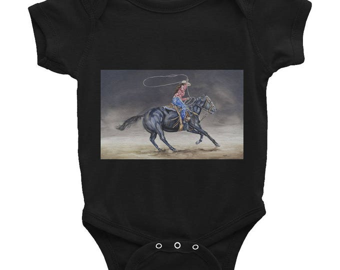 Infant Bodysuit- Cowgirl Roping Watercolor Painting on Baby Wear