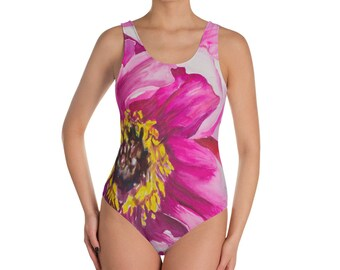 Pink Flower One-Piece Swimsuit- Watercolor Painting on Bathing Suit