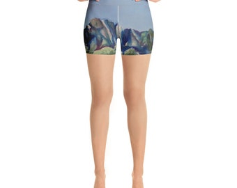 DesertCactus Watercolor Painting on Yoga Shorts- Work out Clothing