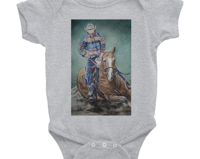 Infant Bodysuit- Cowboy Riding a Horse painted on Baby Wear