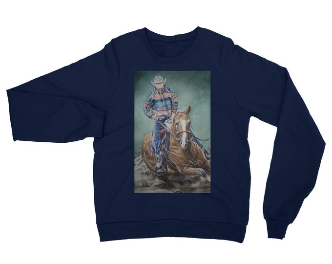 Cowboy Riding a Horse- Unisex California Fleece Raglan Sweatshirt