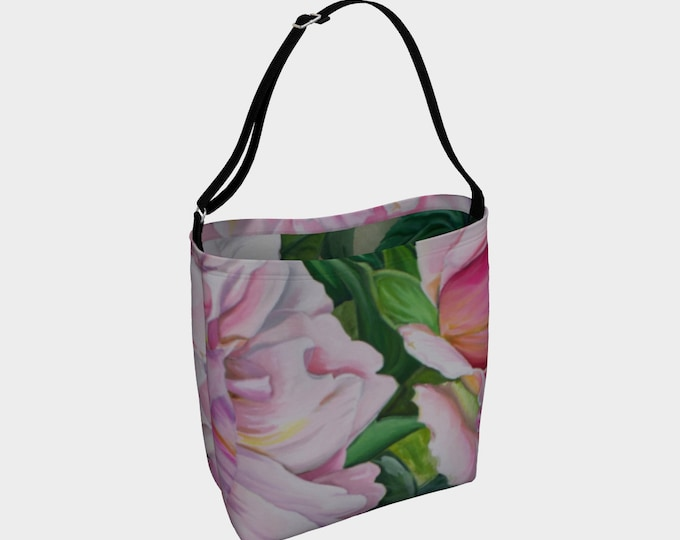 Pink Floral Tote - Watercolor Painting on Bag