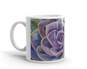 Succulent MUG, WATERCOLOR Painting on Mug