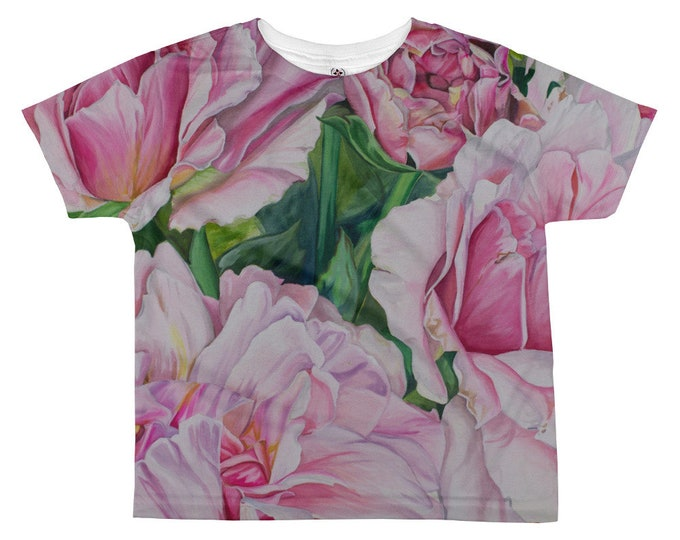 Pink Floral - All-over kids sublimation T-shirt, Watercolor Painting on Shirt