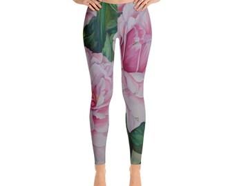 Pink Floral - Leggings, Watercolor Painting on Leggings