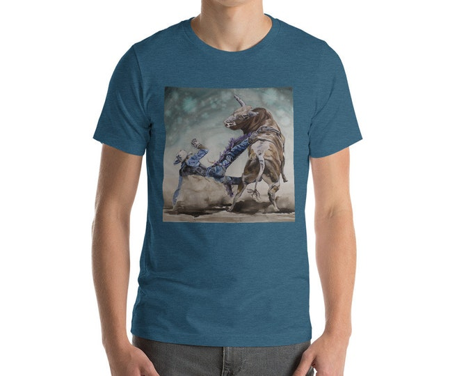 Bull Rider Short-Sleeve Unisex T-Shirt- Watercolor Painting on T Shirt
