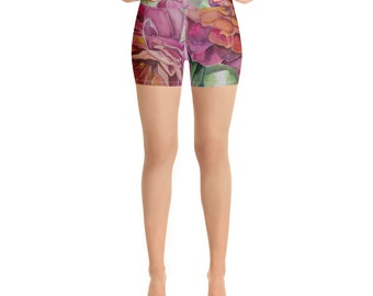 Floral Watercolor Painting on Yoga Shorts- Work out clothing