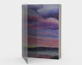 Desert Sunset spiral- Watercolor Painting on Sketchbook, Note Book, Drawing Book