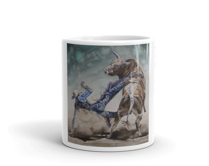 BULLRIDER- MUG, Watercolor Painting on Coffee Mug, Tea Mug