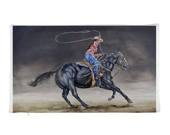 Cowgirl Roping Rectangular Pillow Case only