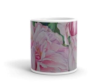 Pink Floral - MUG - Watercolor Painting on Coffee Mug