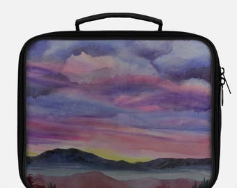 LUNCH BAG- DESERT Landscape, Watercolor Painting on Lunch Bag, Cool Bag