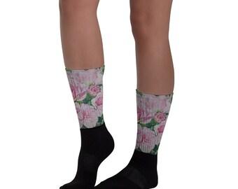 Pink Floral - Socks, Watercolor Painting on socks