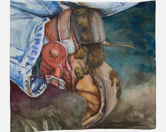 FLEECE BLANKET- COWBOY Boot, Western Watercolor on Blanket, warm blanket