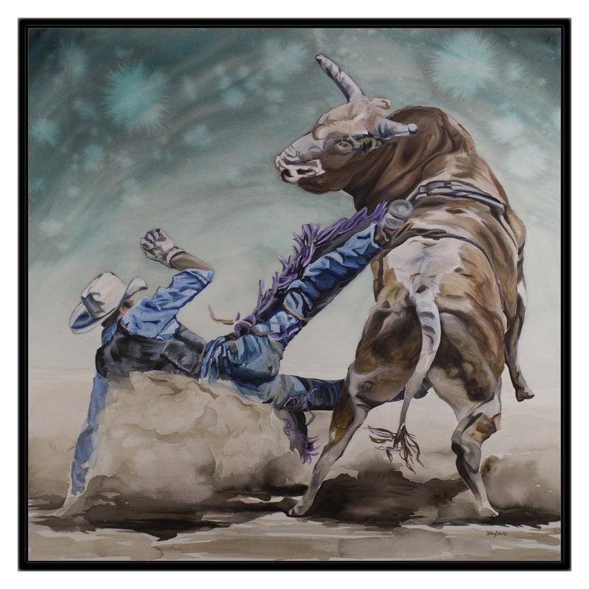 ART PRINT - FREE shipping- Watercolor Painting of Bull Rider 69f570848854
