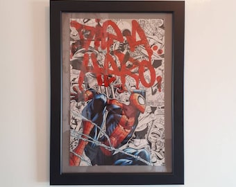 Spiderman 'Die A Hero' Collage with black A4 frame