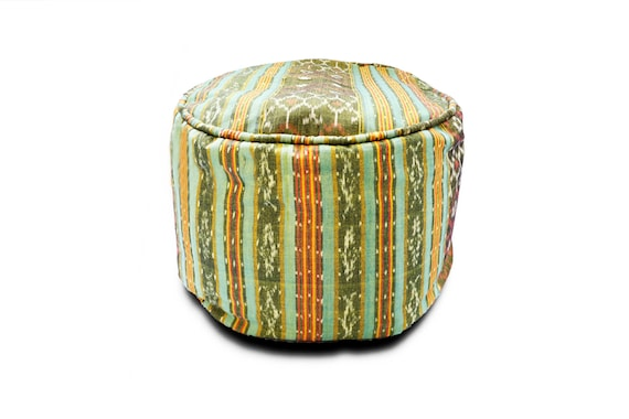 Awesome Round Ikat Pouf Ottoman Light Green Ethnic Boho Pouf Floor Cushion Handwoven In Indonesia 20W X 13 5H Cjindustries Chair Design For Home Cjindustriesco