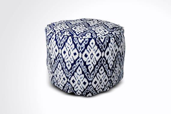 Superb Round Ikat Pouf Ottoman Dark Blue Ethnic Boho Pouf Floor Cushion Handwoven In Indonesia 20W X 12 5H Machost Co Dining Chair Design Ideas Machostcouk