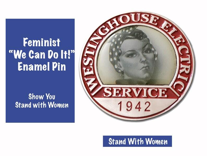 Feminist Pin. Enamel Collar Pin.  Rosie the Riveter Wore One image 0