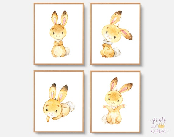 bunny art bunny print set of 4 whimsical watercolor bunny etsy