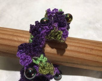 Crochet Hair Tie with Iridescent Beads
