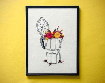 Handmade embroidery > Moka & Flowers