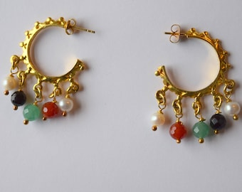 Hoop Earrings with Pearl, Carnelian, Onyx, and Green Quartz Stone Beads