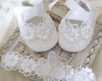 076436ed9c28e Baby Girl Bridal Off White Baptist Christening Shoes Daisy Flowers with  Pearl Headband Baby Shower Gift