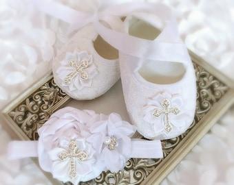 eedbca2ee083 Baby Girl White Christening Shoes Satin Flowers Headband Rhinestone Cross  Set