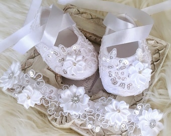 c6ea7612142aa Baby Girl White Christening Shoes, Sequins Shoes, Baptism Shoes, Lace Shoes  and White Lace Headband with Satin White Flowers and Rhinestones