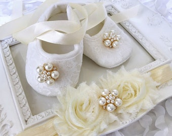 Baby Girl Ivory Christening Baptism Shoes Shabby Flower Rhinestones Pearls  Headband Set d4a9d9ca3395