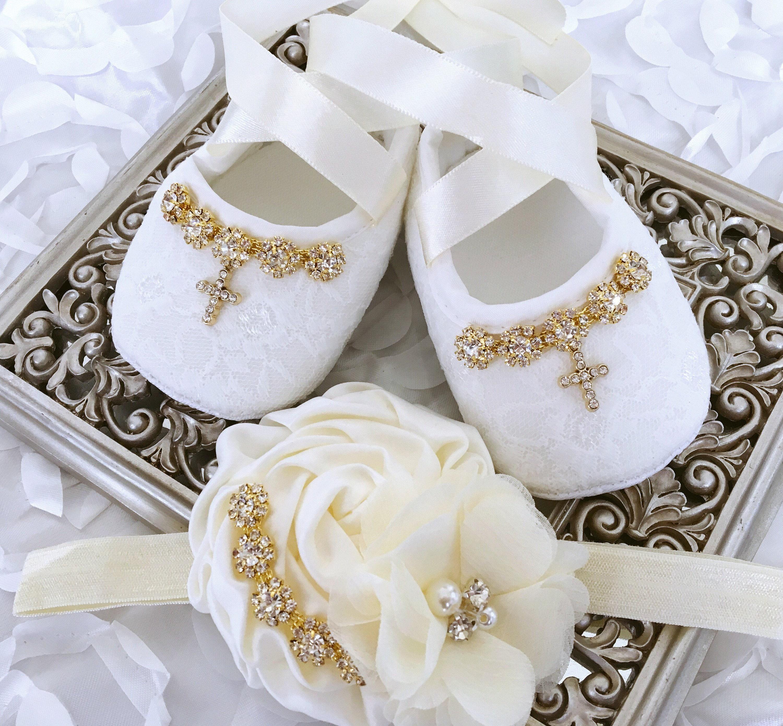 Baby Ivory Christening Shoes Baptism Satin Bows Rhinestone Christening Headband