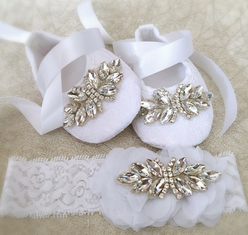 Baby Girl White Christening Baptism Shoes Rhinestone Satin Flower Headband Set