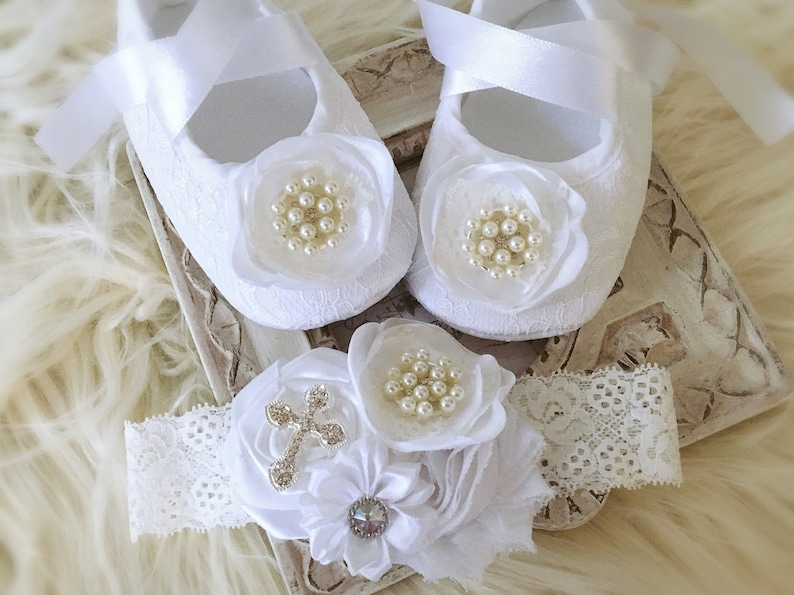 4f42a5bff8993 Baby Girl White Christening Baptism Shoes Sparkly Rhinestones Pearls Lace  Headband Satin Flower Headband Rhinestone Cross Set