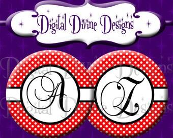 Red White Black Polka Dot Alphabet Set - 1 inch round digital graphics - Instant Download