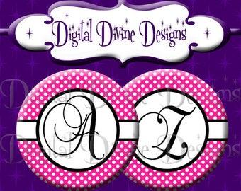 Pink White Black Polka Dot Alphabet Set - 1 inch round digital graphics - Instant Download