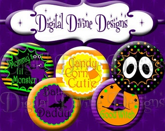 Halloween Sayings MM05 - 1 inch round digital graphics - Instant Download