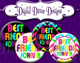 Best Friends Forever RB04 - 1 inch round digital graphics - Instant Download