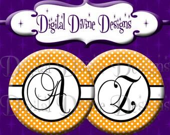 Orange Black White Polka Dot Alphabet Set - 1 inch round digital graphics - Instant Download