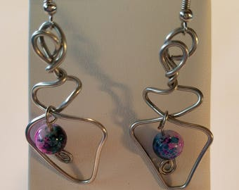 Silver and Pink Funky Abstract Earrings