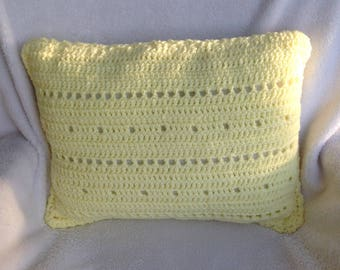Crochet Pillow Handmade Yellow White