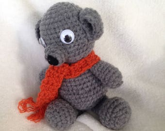 Teddy Bear, Crochet, Handmade,Gray,Orange