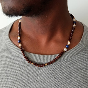 - Jewelry Set BrownWhiteEarth Tones Afrikansiche Pearl Necklace with Bracelet Statement Necklace Ghanastyle Krobobeads