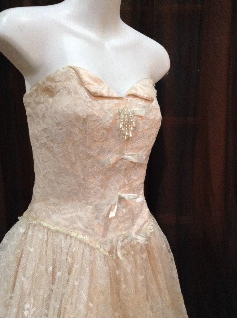 Vintage 1980\u2019s Alfred Angelo Flirtations Formal Dress Pink Ivory Lace Strapless Size 6