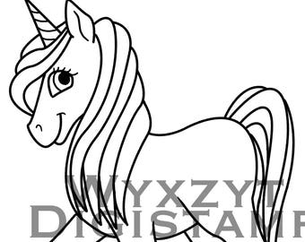 Cute unicorn digistamp, instant download coloring page