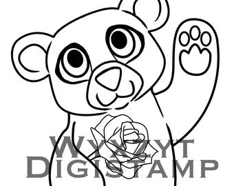 Cute teddy bear with rose digistamp instant download