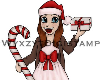Cute Christmas digistamp girl, instant download digital stamp