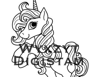 Cute unicorn digistamp instant download coloring page