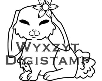 Cute Bunny Digistamp with flower coloring page instant download